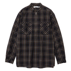 nonnative Worker Pullover Shirt Cotton Typewriter Plaid Black, Tops