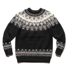 Uniform Experiment Nordic Mohair Crewneck Knit Black, Knits