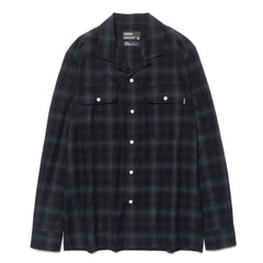 HAVEN Open Collar Shirt - Shadow Plaid Black