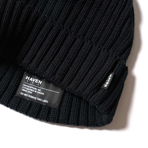 HAVEN Ribbed Beanie - Cotton Black, Accessories