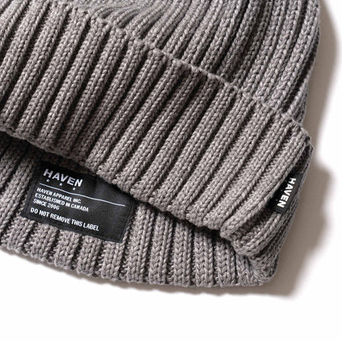 HAVEN Ribbed Beanie - Cotton Melange Gray, Accessories