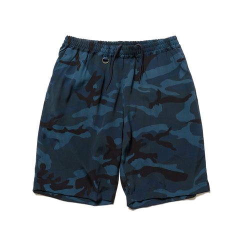 SOPHNET. Camouflage Rayon Easy Shorts Navy, Shorts