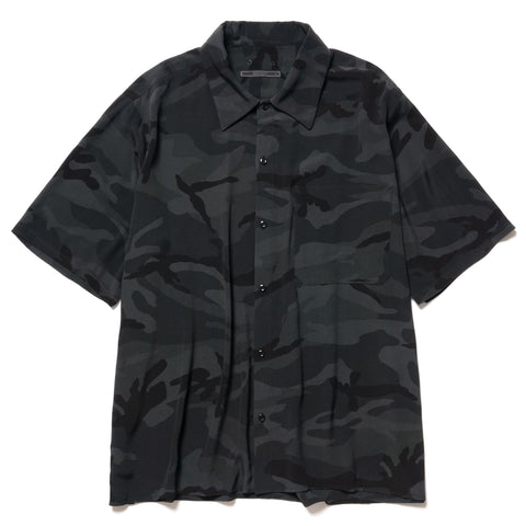 SOPHNET. Camouflage Rayon Wide Box Shirt Black, Tops