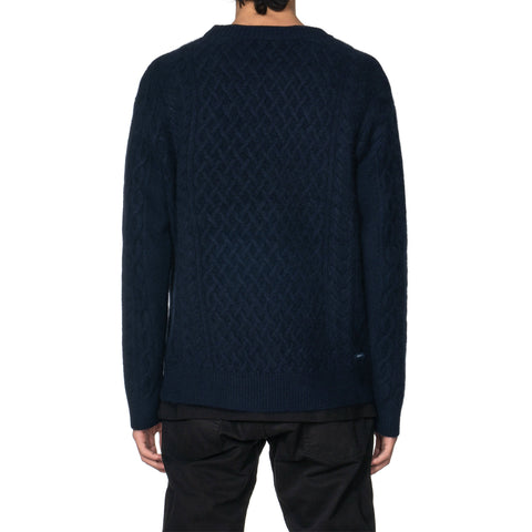 SOPHNET. Fisherman Crew Neck Knit Fabric by SOLOTEX Navy, Knits