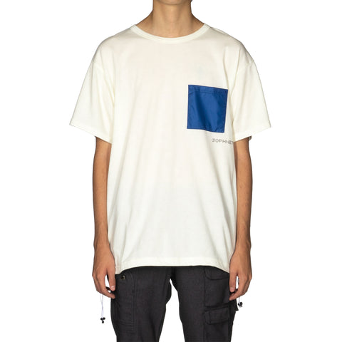 SOPHNET. Hem Code Big Pocket Tee White, T-Shirts