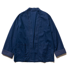 SOPHNET. Indigo Linen Cotton Canvas Shirt Cardigan, Tops