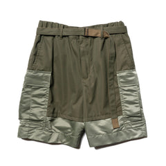 Sacai Fabric Combo Shorts Khaki, Bottoms