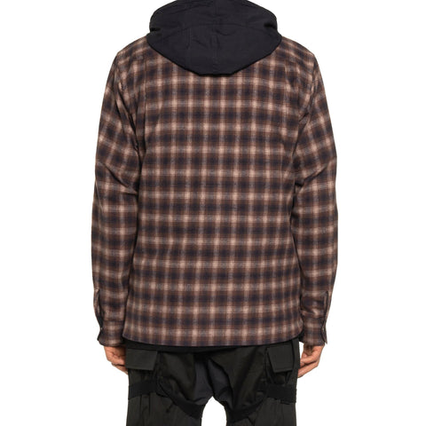 Sacai Ombre Check Hoodie Brown, Shirts