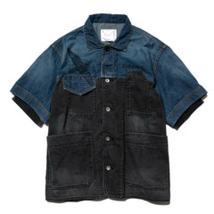 sacai x Dr. Woo Denim Shirt Blue x Black, Tops