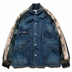 sacai x Dr. Woo Denim Stadium Jacket Blue x Green, Jackets