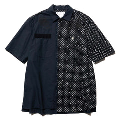 sacai x Dr. Woo Polka Dot Print Short Sleeve Asymmetrical Shirt Navy, Tops