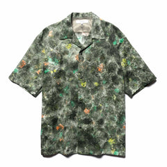 Sasquatchfabrix. Norinagashi Open Collar H/S Shirt Green Pattern, Shirts