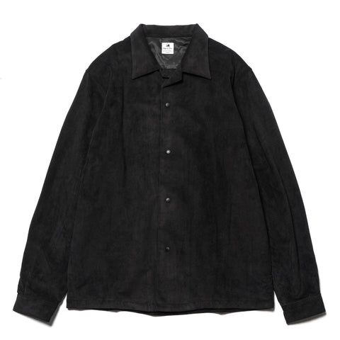 Sasquatchfabrix. Ultrasuede Open Collar Shirt Black, Tops