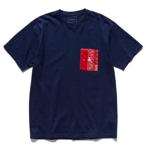 SOPHNET. Bandana Pocket Tee Navy, T-Shirts
