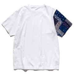 SOPHNET. Bandana Sleeve Paneled Wide Tee White, T-Shirts