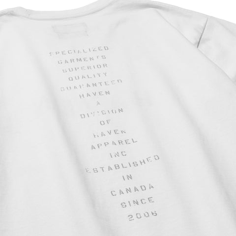 HAVEN / mo'design Stencil Reflective LS T-Shirt - Cotton Jersey White, T-Shirts