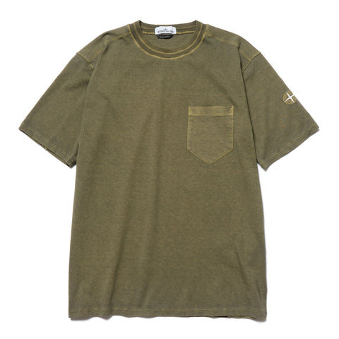 108fb2bea4 Stone Island 20/1 Cotton Jersey Garment Dyed Fissato Effect Pocket T-Shirt  Olive ...