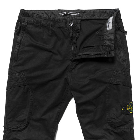 Stone Island Brushed Cotton Canvas Garment Dyed -Old Effect- Cargo Pant Black, Bottoms