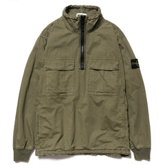 Stone Island Brushed Cotton Canvas Garment Dyed -Old Effect- Stand Collar Anorak Olive, Jackets