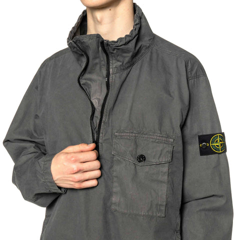 "Stone Island Brushed Cotton Canvas Garment Dyed ""Old Effect"" Stand Collar Anorak Peltro, Outerwear"