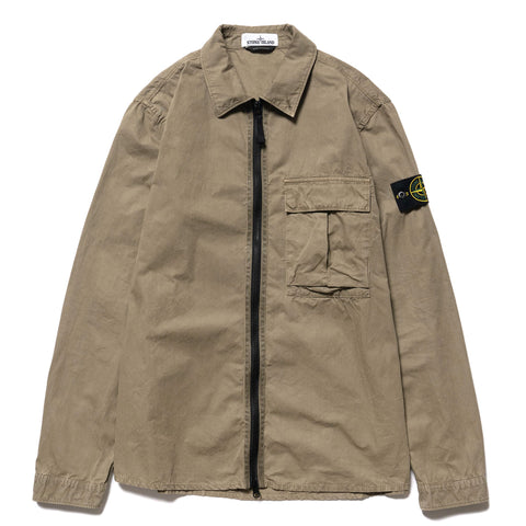 Stone Island Brushed Cotton Canvas Garment Dyed -Old Effect- Zip Shirt Jacket Fango, Jackets