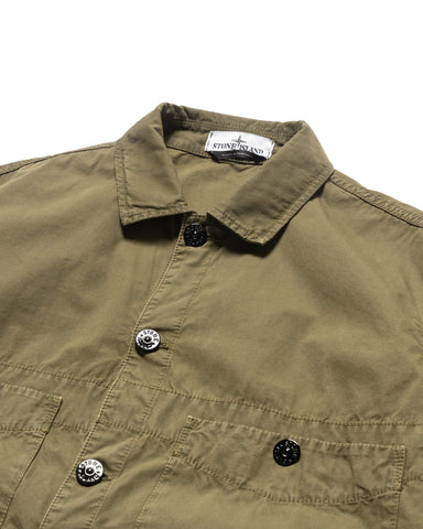 Stone Island Brushed Cotton Canvas 'Old Effect' Overshirt Olive, Shirts