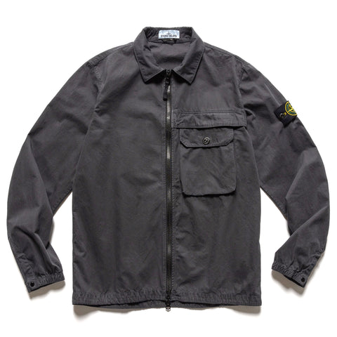 Stone Island Brushed Cotton Canvas 'Old Effect' 1 Pocket Shirt Antracite, Shirts