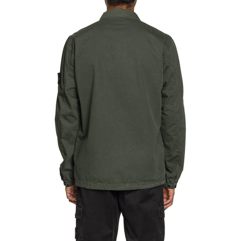 Stone Island Brushed Cotton Canvas 'Old Effect' 1 Pocket Shirt Muschio, Shirts