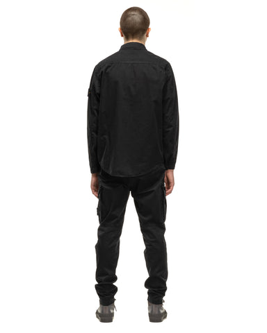 Stone Island Brushed Cotton Canvas 'Old Effect' Overshirt Black, Shirts