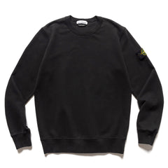 Stone Island Brushed Cotton Fleece Garment Dyed Crewneck Sweater Black, Sweaters