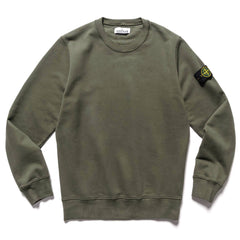 Stone Island Brushed Cotton Fleece Garment Dyed Crewneck Sweater Muschio, Sweaters