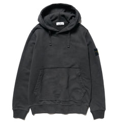 Stone Island Brushed Cotton Fleece Garment Dyed Pullover Hoody Fumo, Sweaters