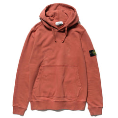 Stone Island Brushed Cotton Fleece Garment Dyed Pullover Hoody Rust, Sweaters