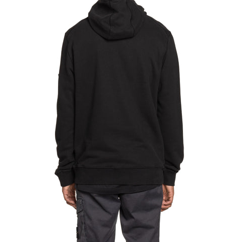 Stone Island Brushed Cotton Fleece Garment Dyed Pullover Sweater Black, Sweaters