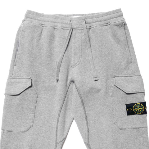 Stone Island Brushed Cotton Fleece Garment Dyed Regular Sweat Pant Polvere Melange, Bottoms