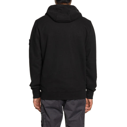 Stone Island Brushed Cotton Fleece Garment Dyed Zip Hooded Sweater Black, Sweaters