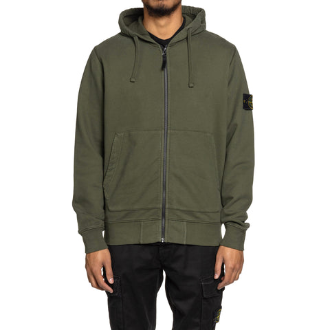 Stone Island Brushed Cotton Fleece Garment Dyed Zip Hooded Sweater Muschio, Sweaters