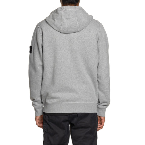 Stone Island Brushed Cotton Fleece Garment Dyed Zip Hooded Sweater Polvere, Sweaters