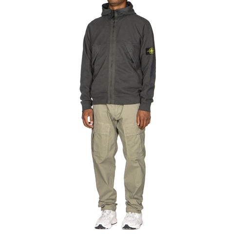 Stone Island Brushed Cotton Fleece Garment Dyed Zip Side Pocket Hooded Sweatshirt Fumo, Sweaters