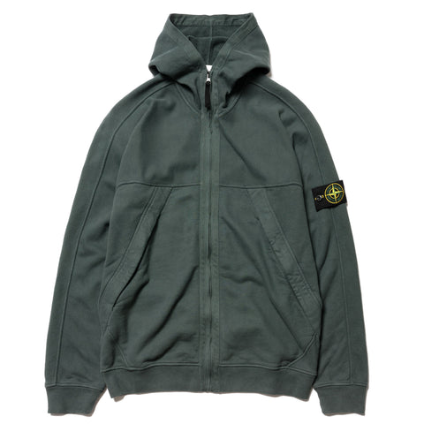 Stone Island Brushed Cotton Fleece Garment Dyed Zip Side Pocket Hooded Sweatshirt Petrol, Sweaters
