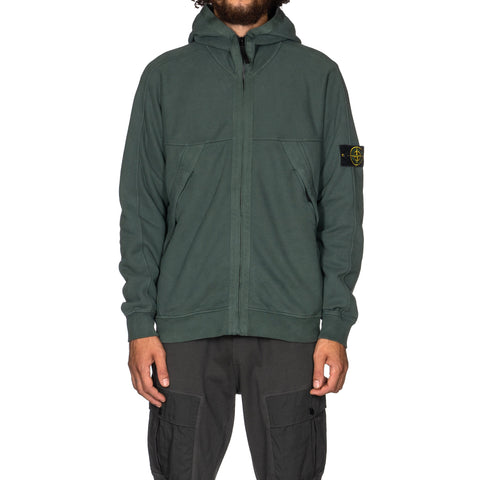 Stone Island Brushed Cotton Fleece Zip Hooded Sweatshirt Petrol, Sweaters