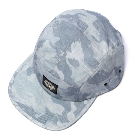 Stone Island Brushed Tela With Big Loom Camo Print 5 Panel Cap Cielo, Headwear