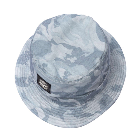 Stone Island Brushed Tela With Big Loom Camo Print Bucket Hat Cielo, Headwear