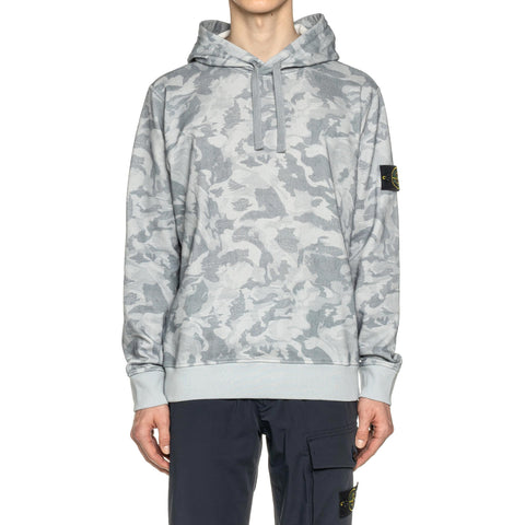 Stone Island Brushed Tela With Big Loom Camo Print Pullover Hoodie Cielo, Sweaters