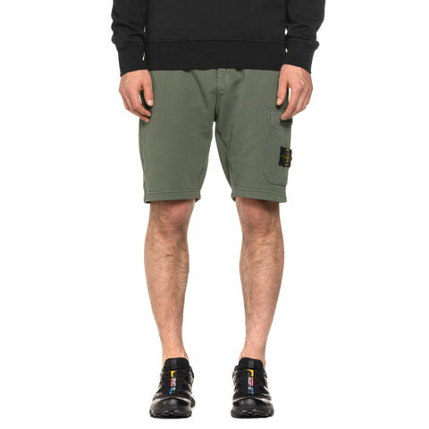 Stone Island Cotton Fleece Garment Dyed 1 Pocket Shorts Olive, Bottoms