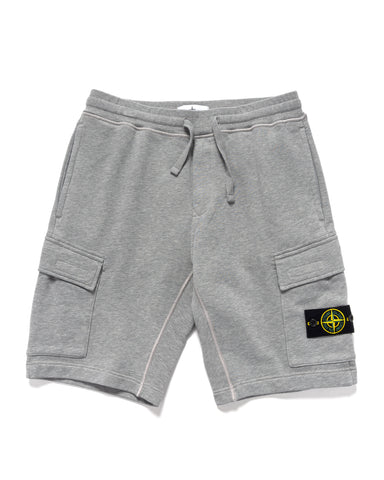 Stone Island Cotton Fleece Garment Dyed 2 Pocket Sweat Short Melange Grey, Bottoms