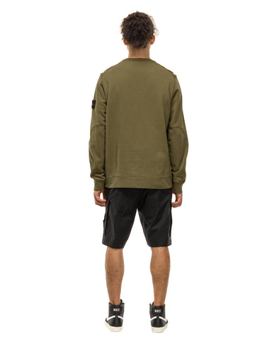 Stone Island Cotton Fleece Garment Dyed Pocket Crewneck Sweater Olive, Sweaters