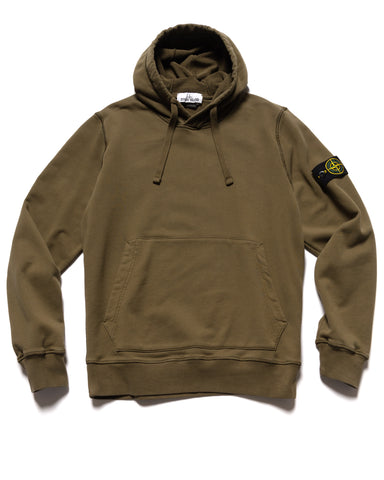 Stone Island Cotton Fleece Garment Dyed Pullover Hooded Sweater Olive, Sweaters