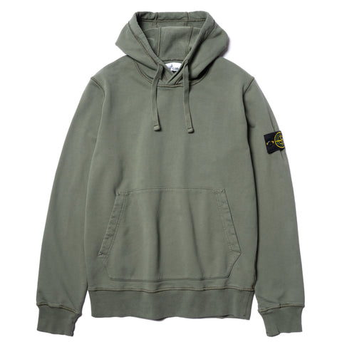 Stone Island Cotton Fleece Garment Dyed Pullover Hoodie Olive, Sweaters
