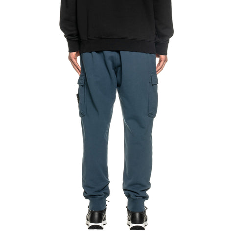 Stone Island Cotton Fleece Garment Dyed Regular Fit Sweat Pant Blue Marine, Bottoms
